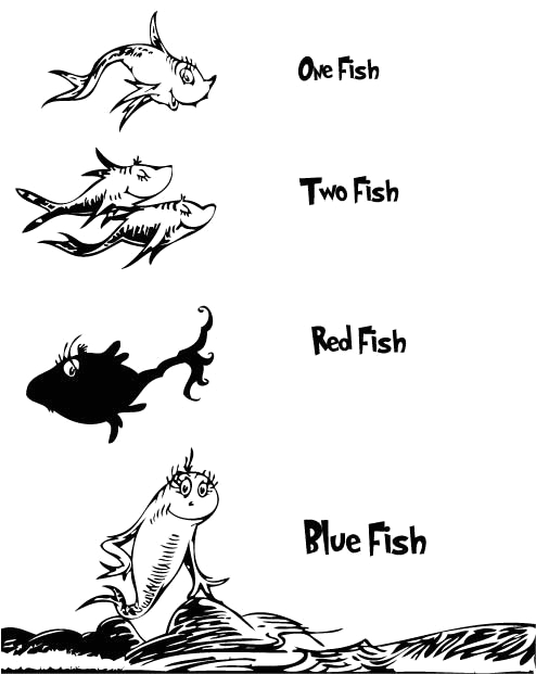 one fish two fish red fish blue fish coloring page
