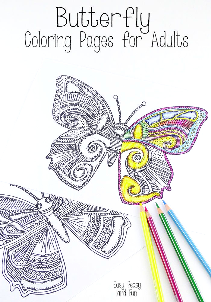 Easy Peasy and Fun Coloring Pages for Adults butterfly Coloring Pages for Adults