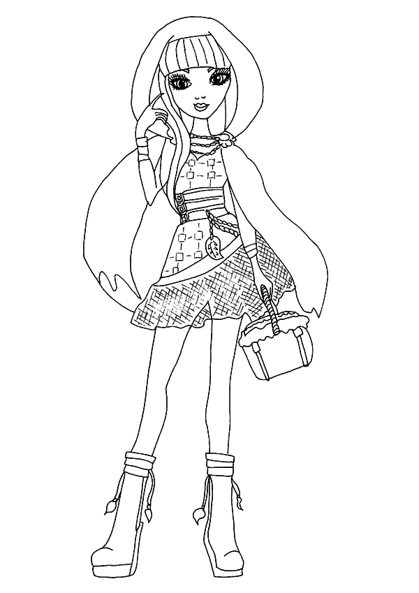 cerise hood posing in ever after high coloring pages