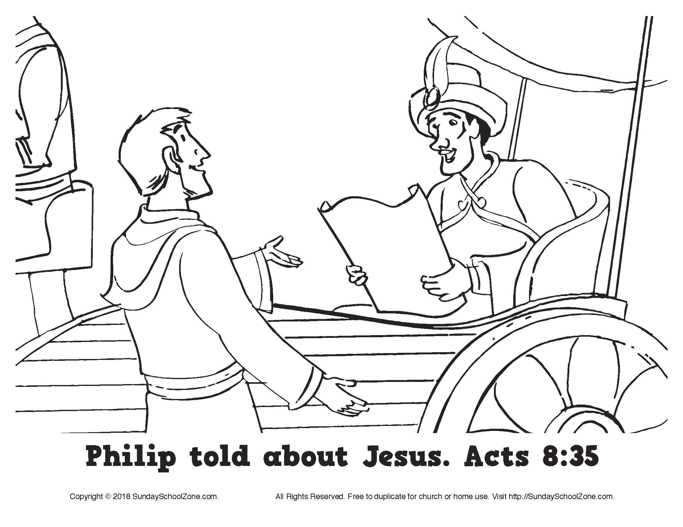 Free Coloring Pages Philip and the Ethiopian Philip told About Jesus Coloring Page On Sunday School