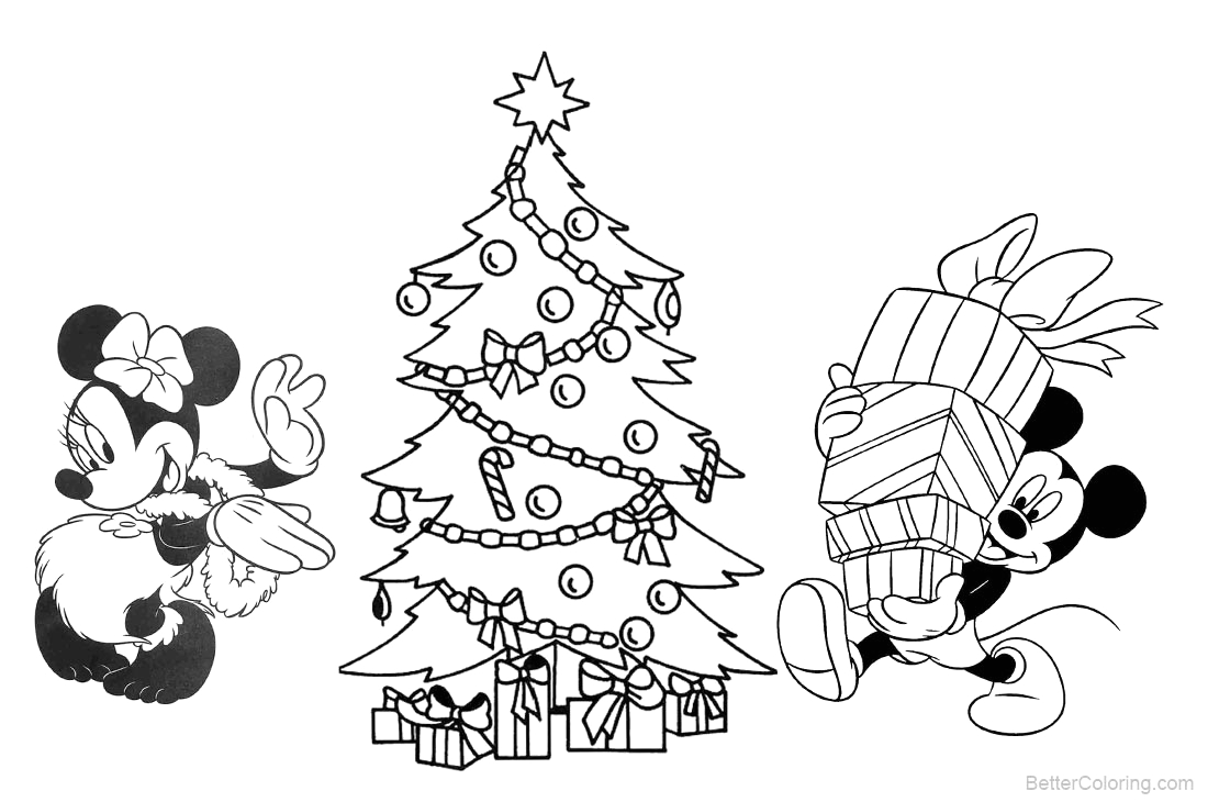 christmas disney coloring pages mickey mouse and christmas tree
