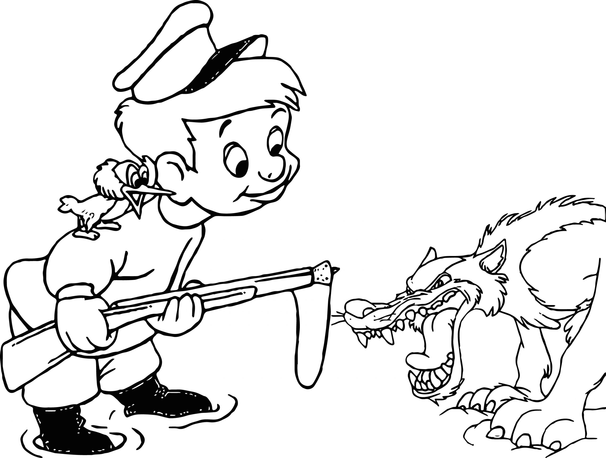 angry wolf peter coloring page