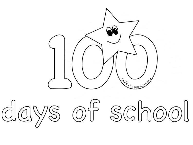 100th day school coloring sheets for kids