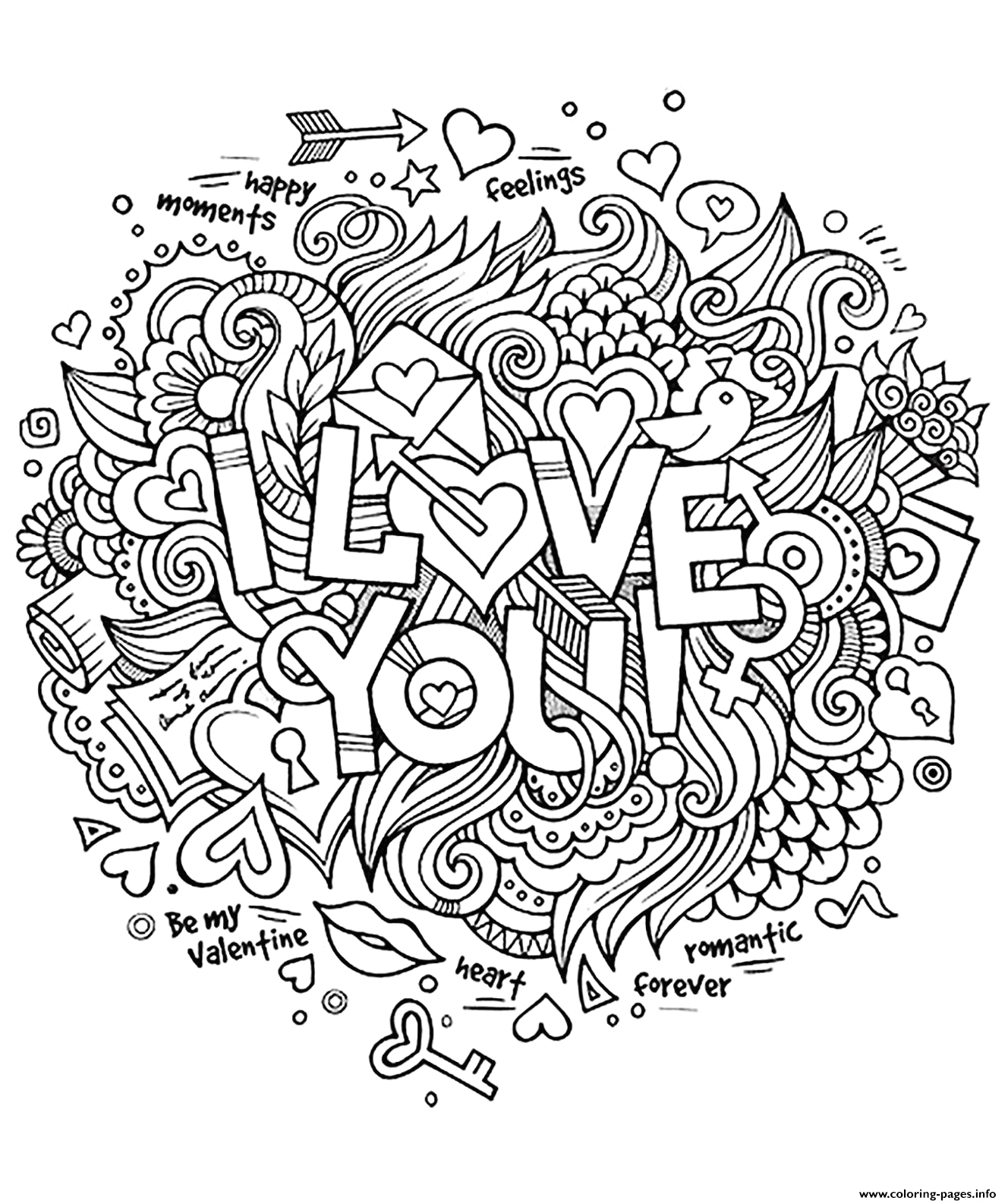 adult heart amour i love you romantique printable coloring pages book