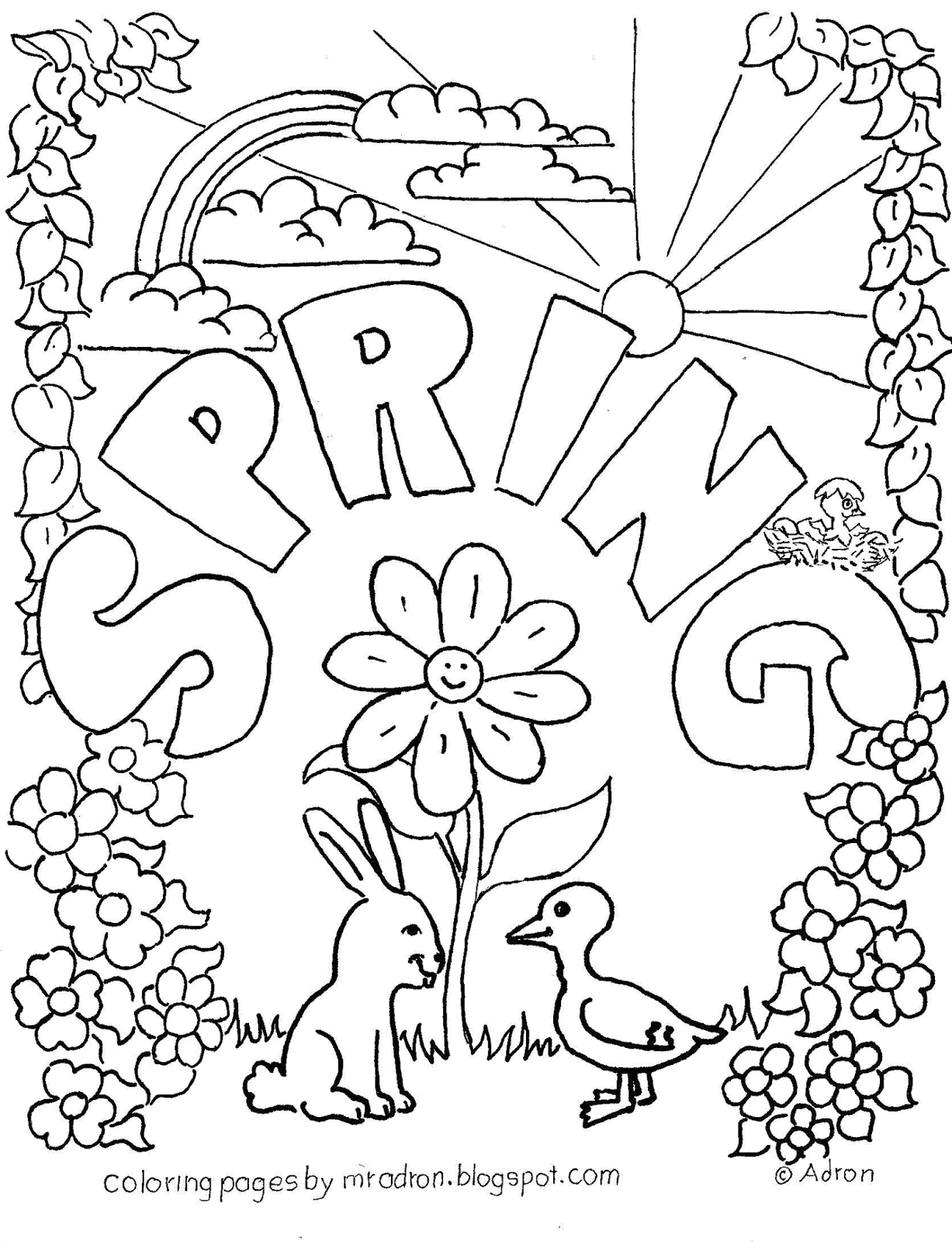 spring free coloring page for kids