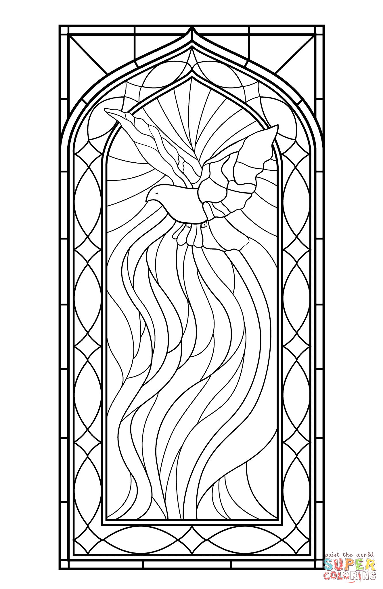 Free Printable Stained Glass Window Coloring Pages Stained Glass Window with Holy Spirit Coloring Page
