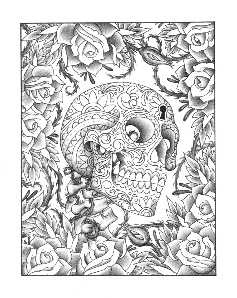 free printable sugar skull coloring pages for adults