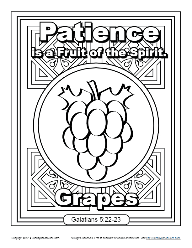 Fruit Of the Spirit Patience Coloring Page Fruit Of the Spirit for Kids