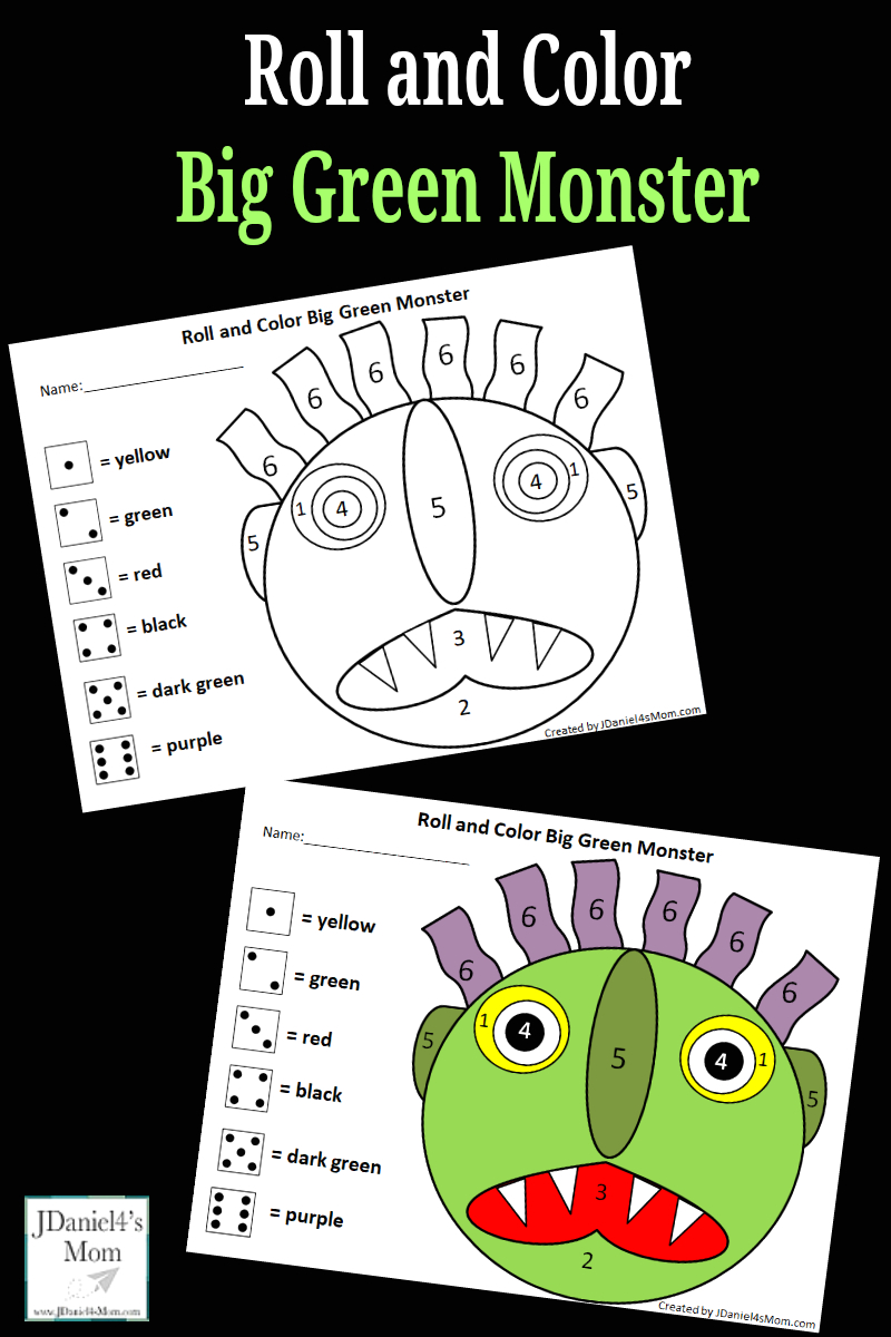 go away green monster roll color math activity