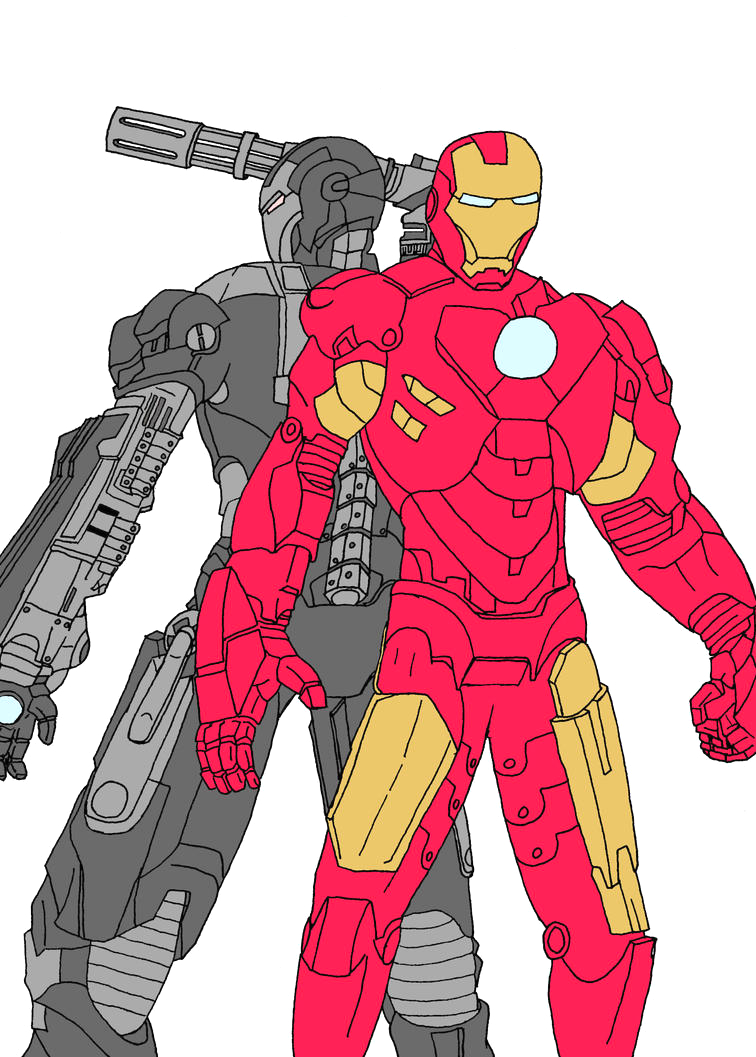ironman and war machine coloring pages