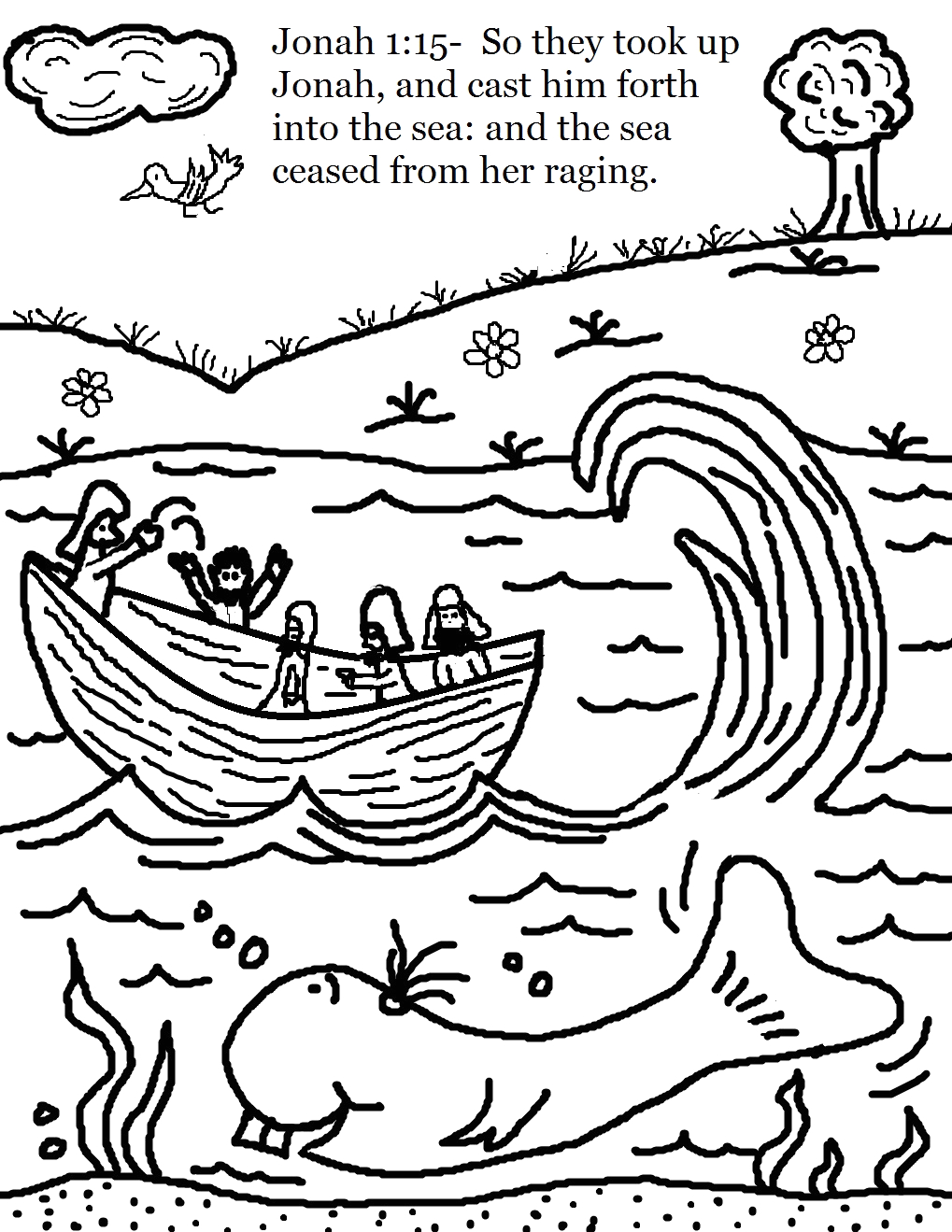 jonah and whale coloring pages