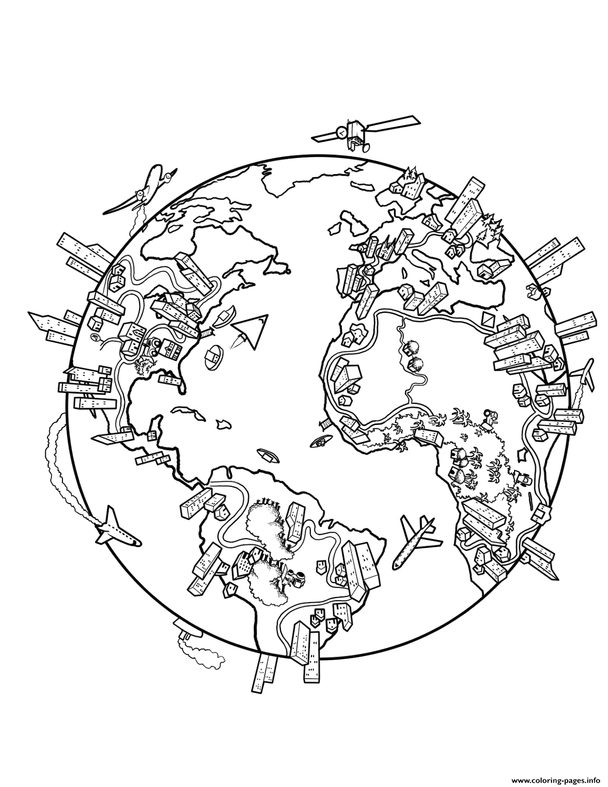 world map earth printable coloring pages book