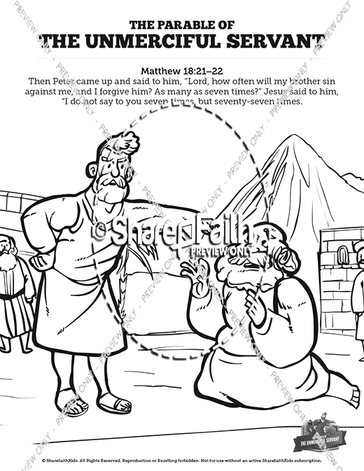 matthew 18 the parable of the unforgiving servant sunday school coloring pages