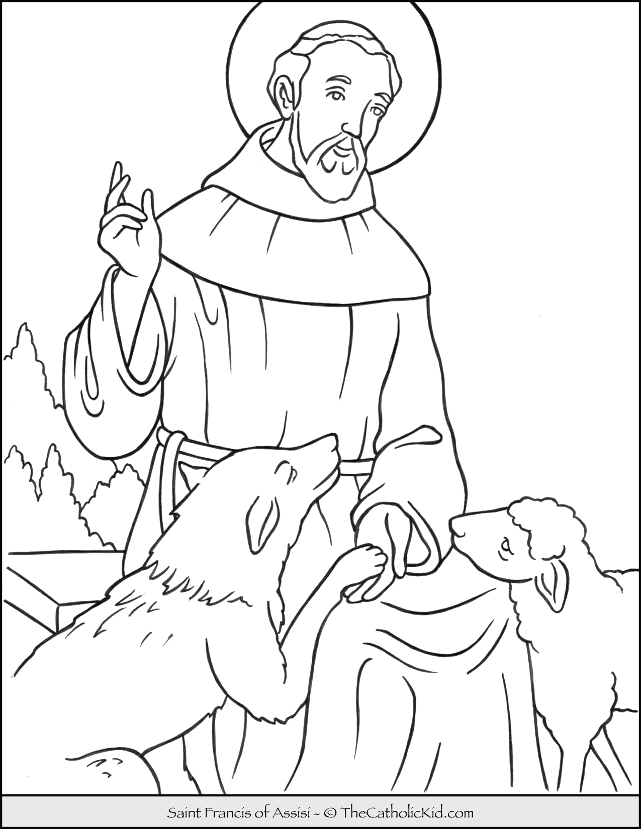 saint francis of assisi coloring page cnt mls