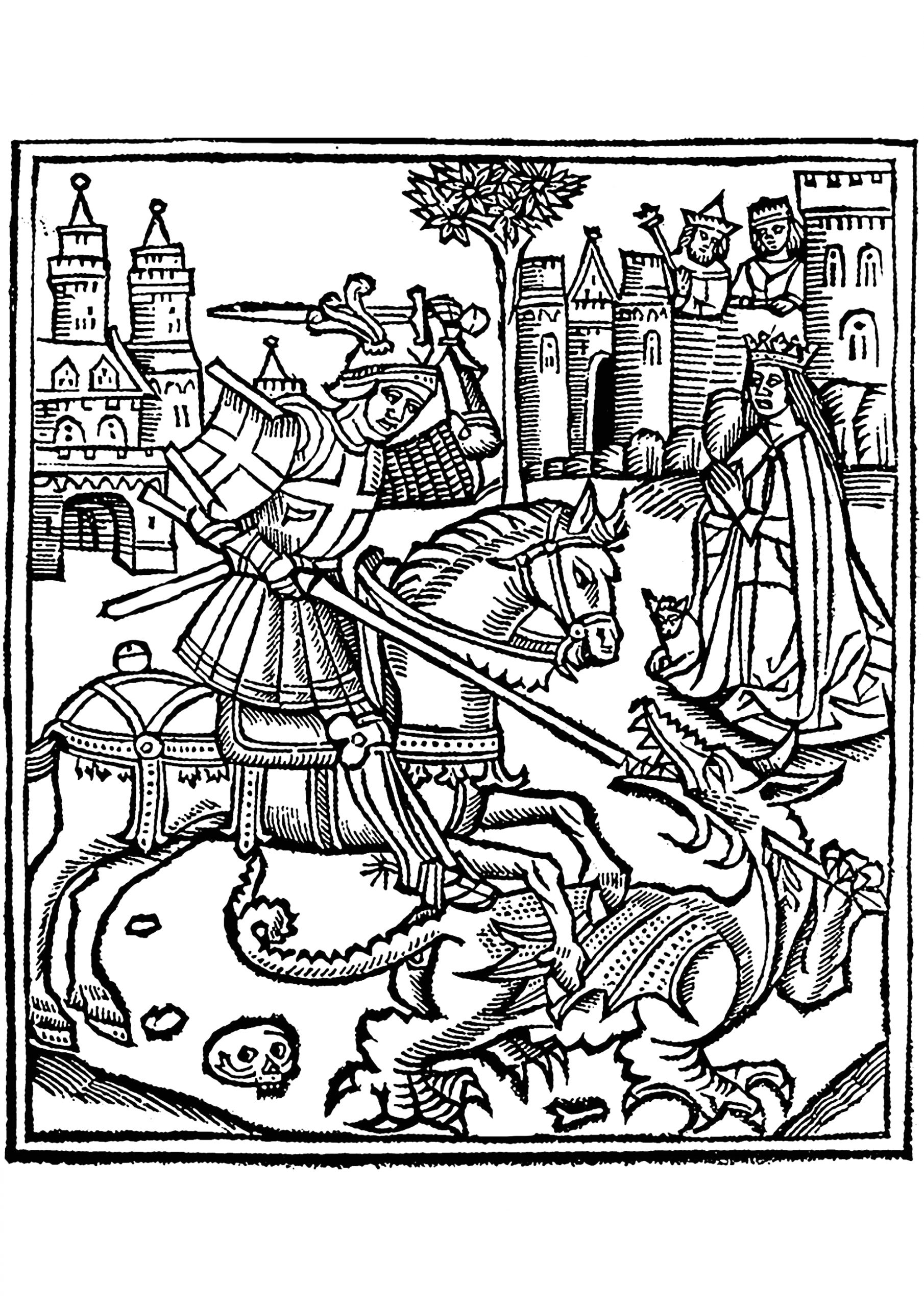 image=dragons coloring woodcut st george slaying the dragon 1