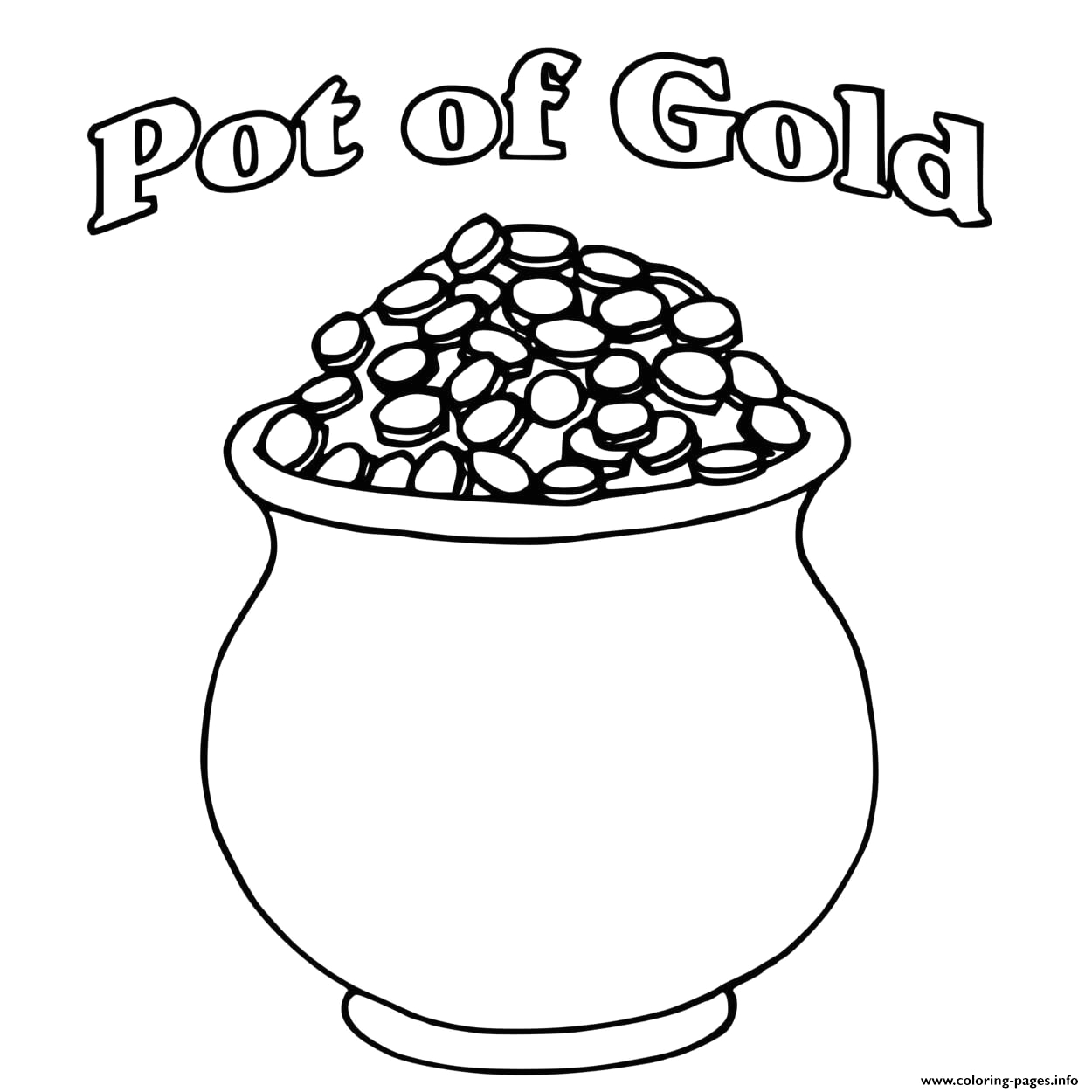 a pot of gold full of coins st patricks printable coloring pages book