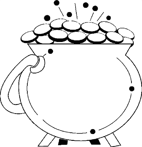 a shiny pot of gold for st patricks day coloring page