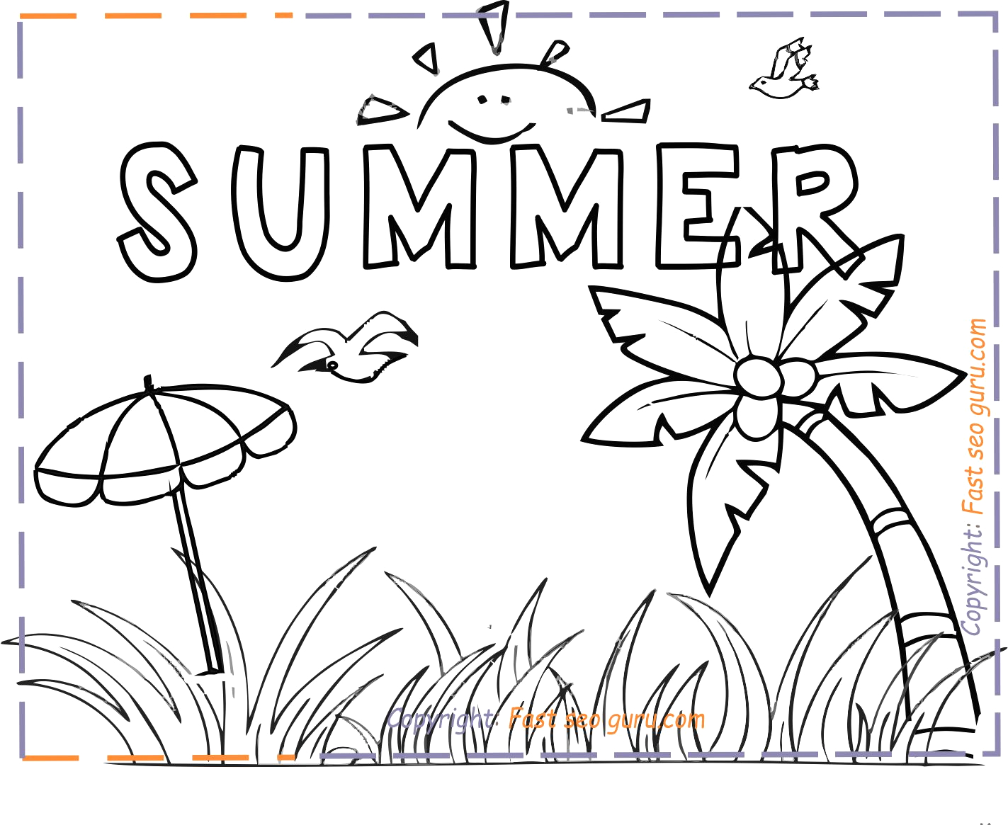 summer holiday coloring pages for kids print out