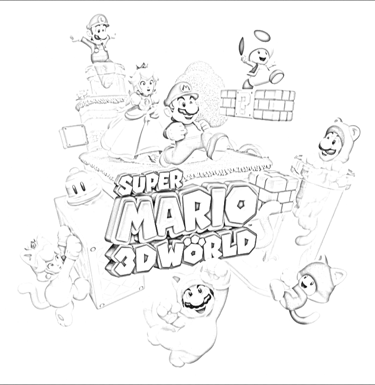 coloring pages mario 3d world