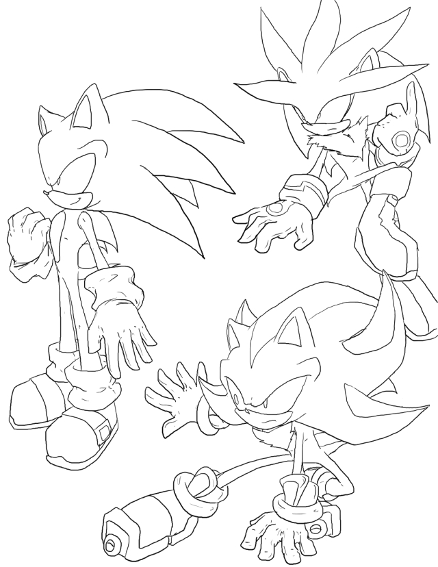super sonic and super shadow and super silver coloring pages