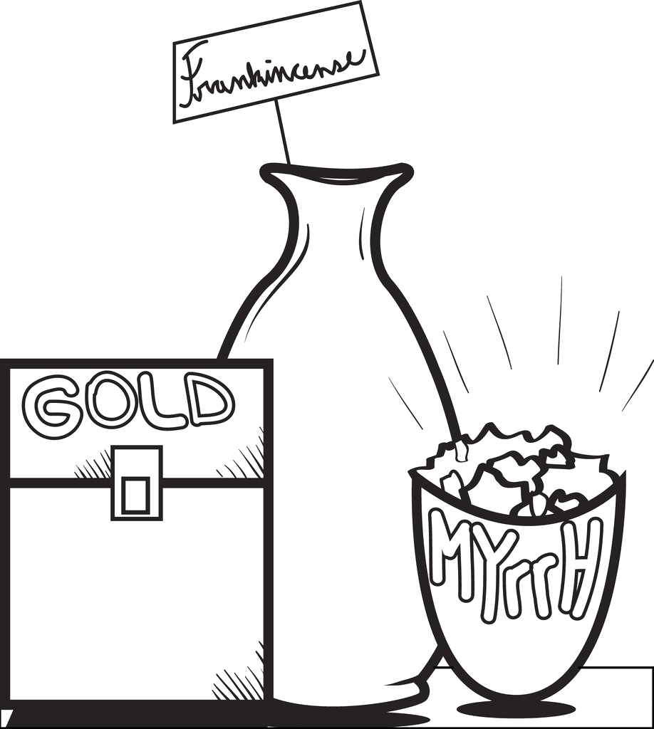 gold frankincense and myrrh coloring page a4703