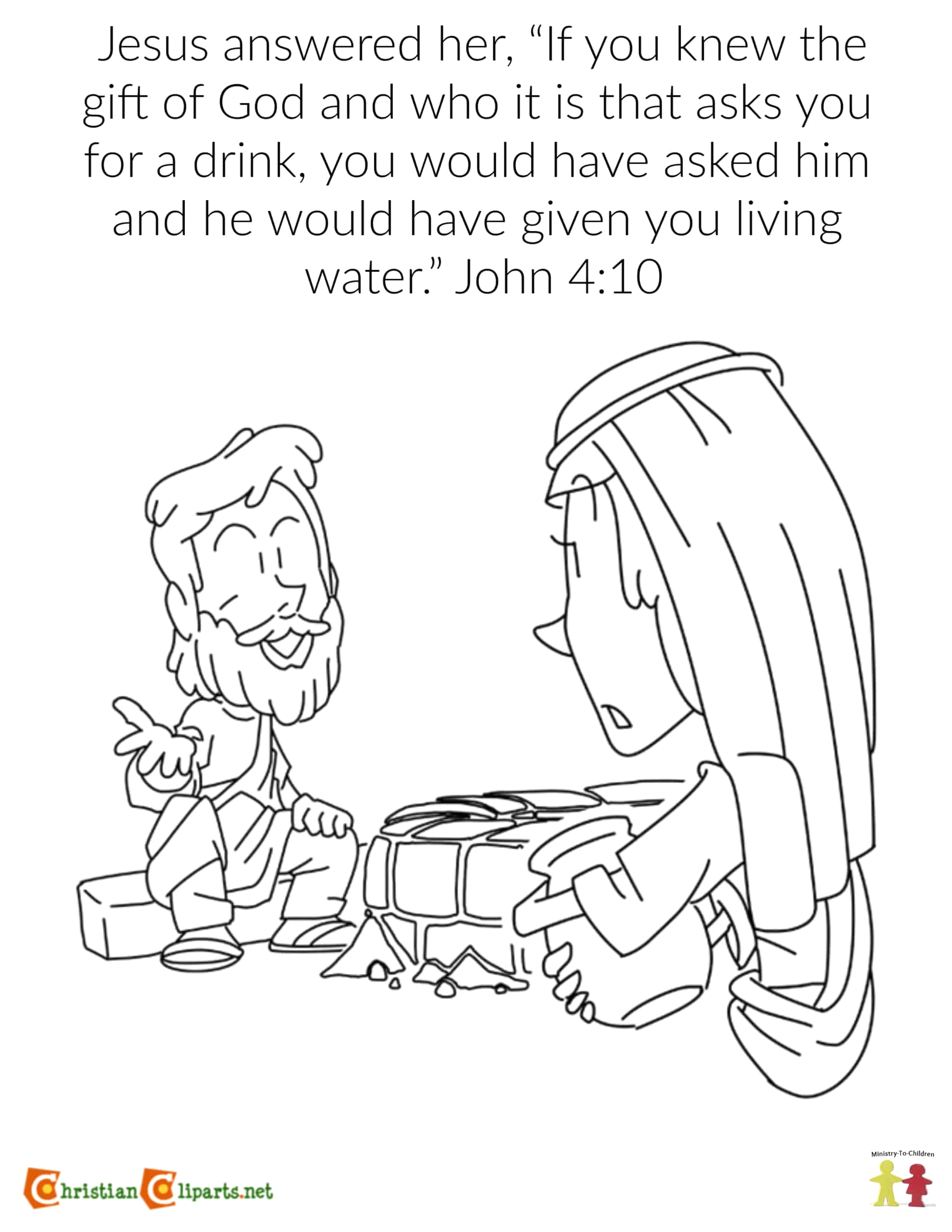coloring page the woman at the well john 410