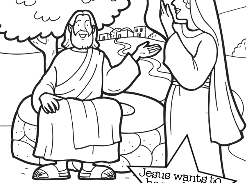top woman at well bible coloring page