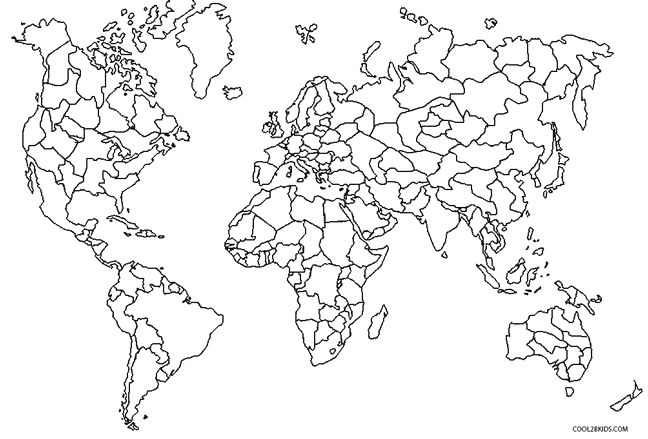 World Map Coloring Page with Countries Labeled Printable World Map Coloring Page for Kids