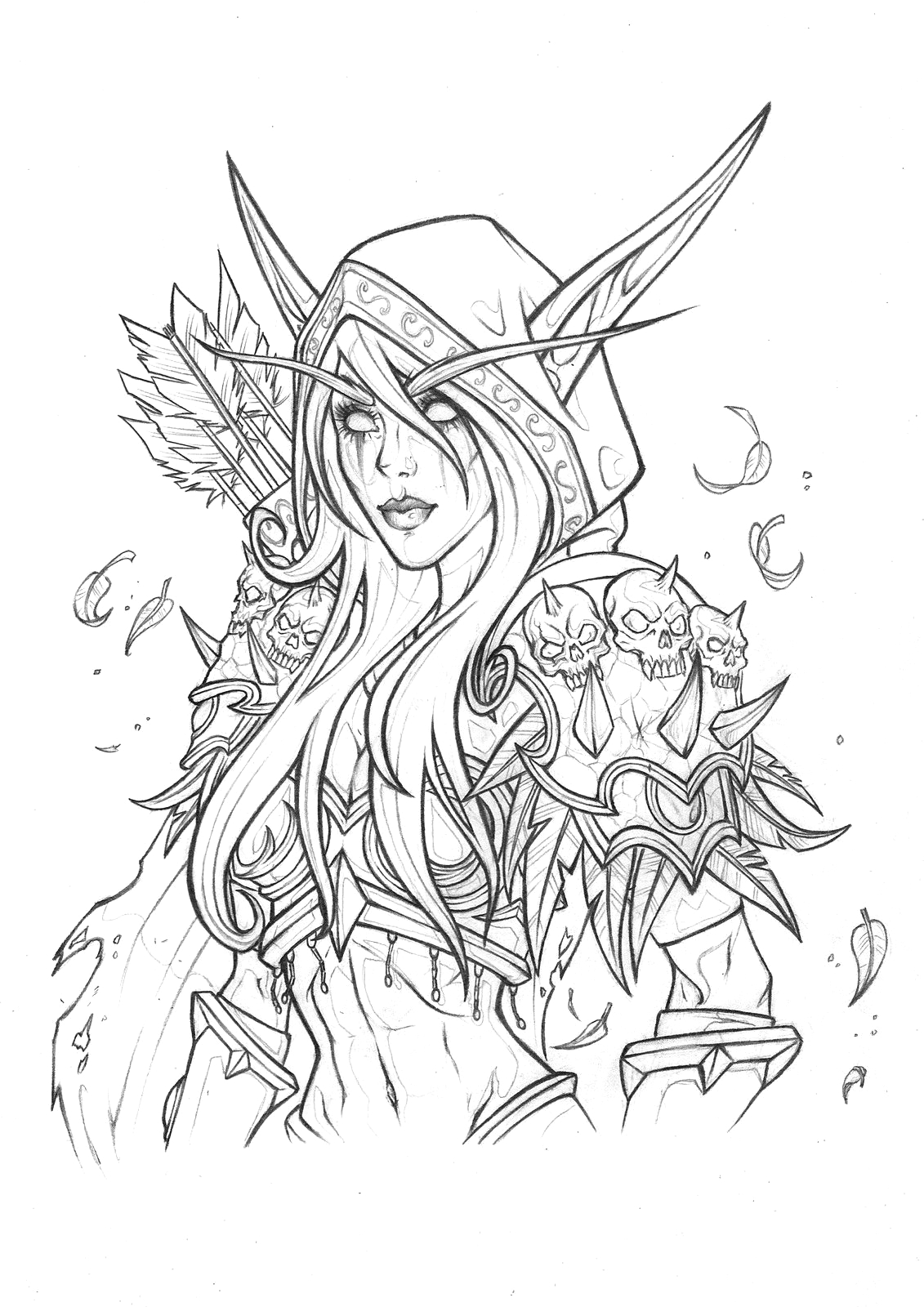 World Of Warcraft Coloring Pages to Print Sylvanas Windrunner Drawing Rachael May On Artstation at