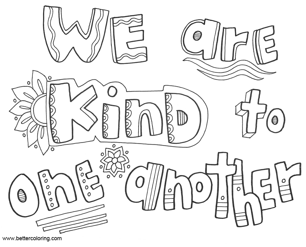 growth mindset coloring pages we are kind to one another