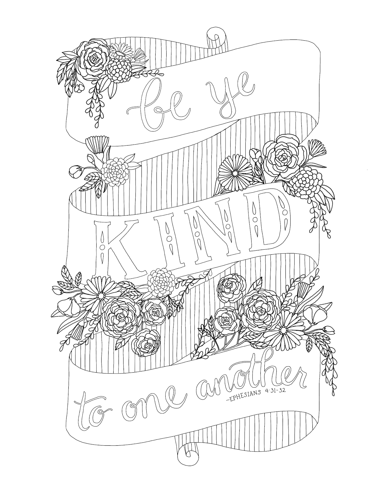 Be Kind to One Another Coloring Page Just What I Squeeze In Be Ye Kind to One Another