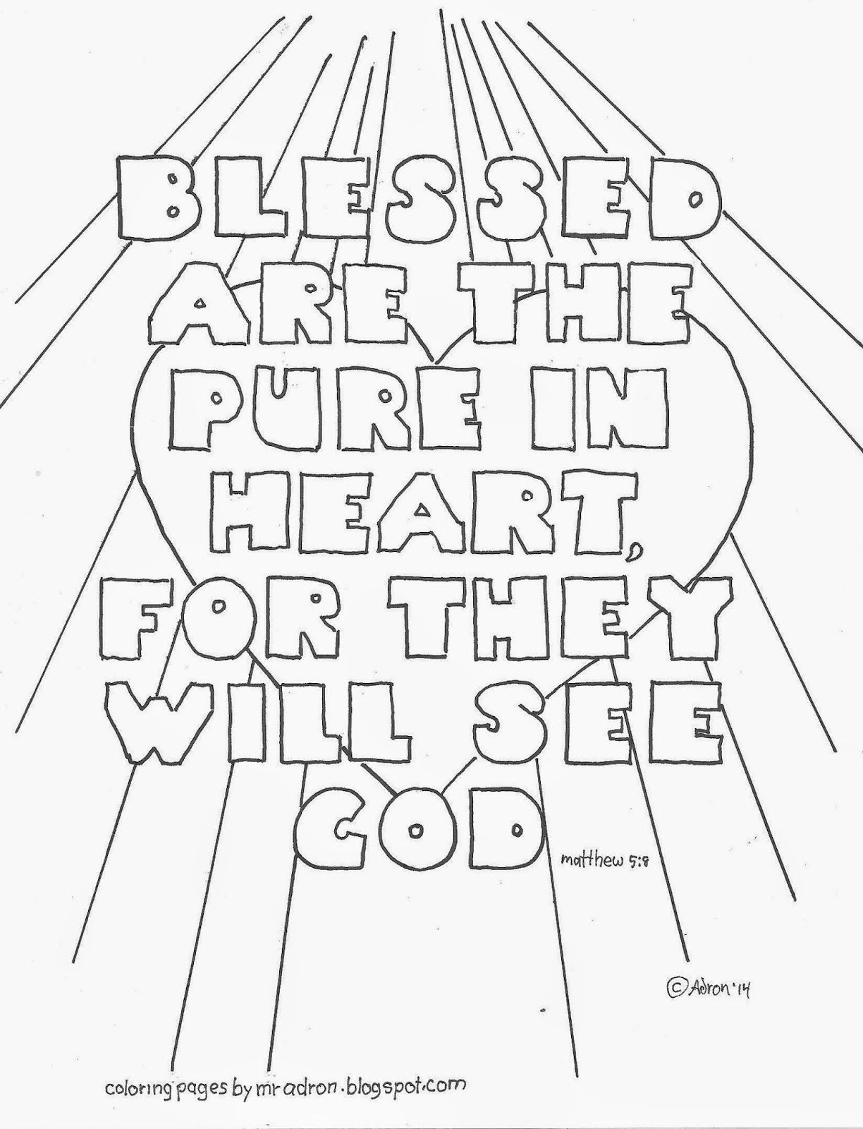 Blessed are the Pure In Heart Coloring Page Blessed are the Pure In Heart Coloring Page See More at