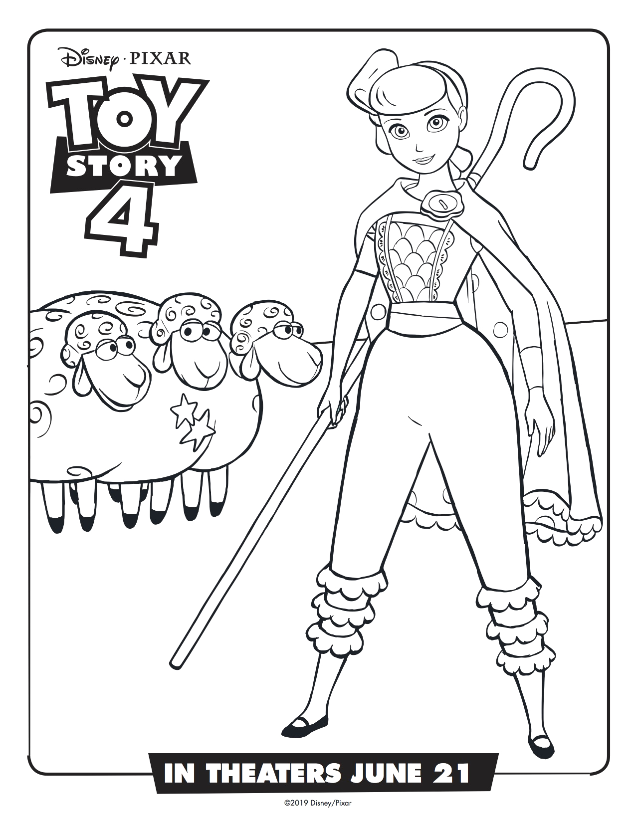 toy story 4 bo peep printable coloring page