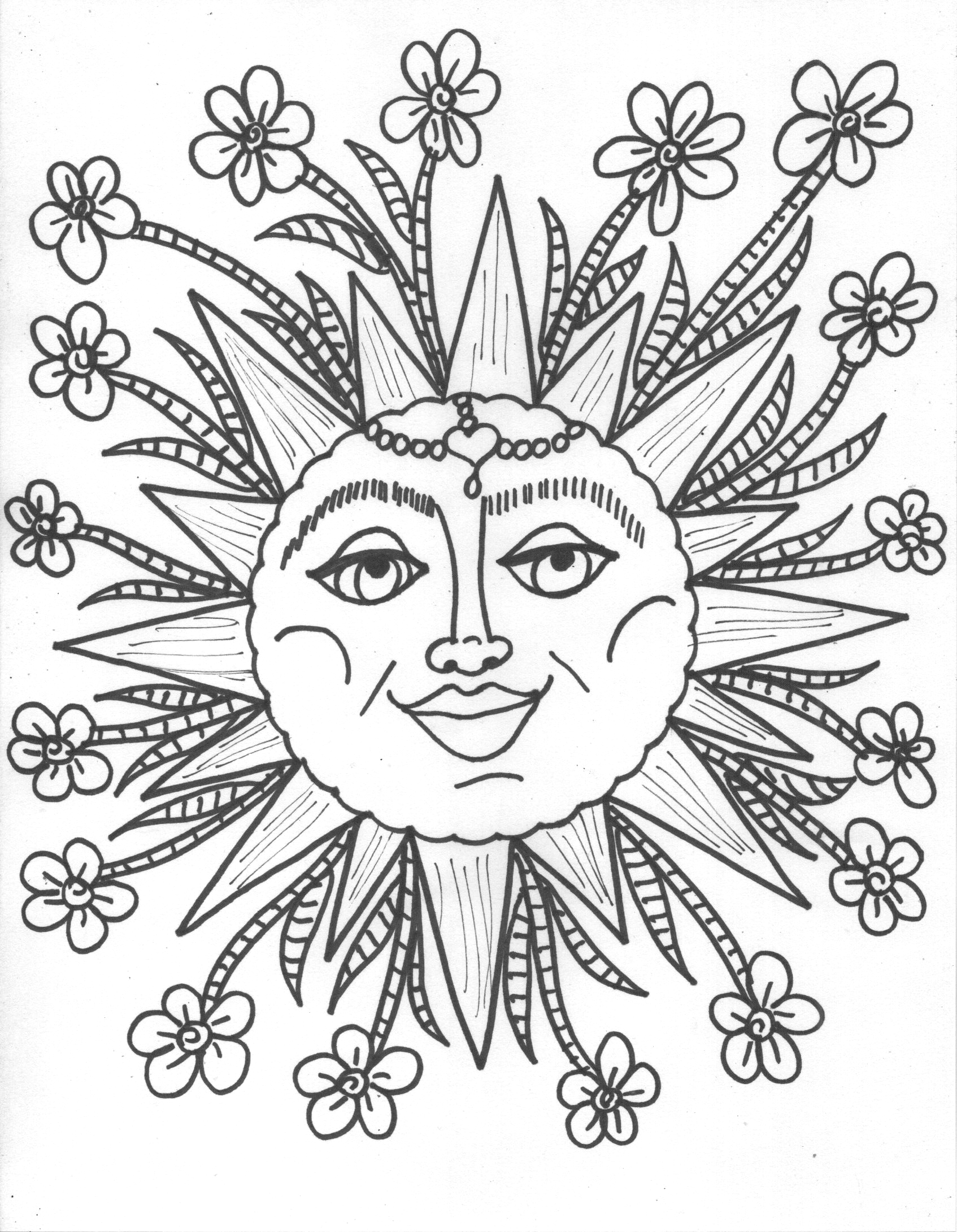 adult coloring pages of the sun