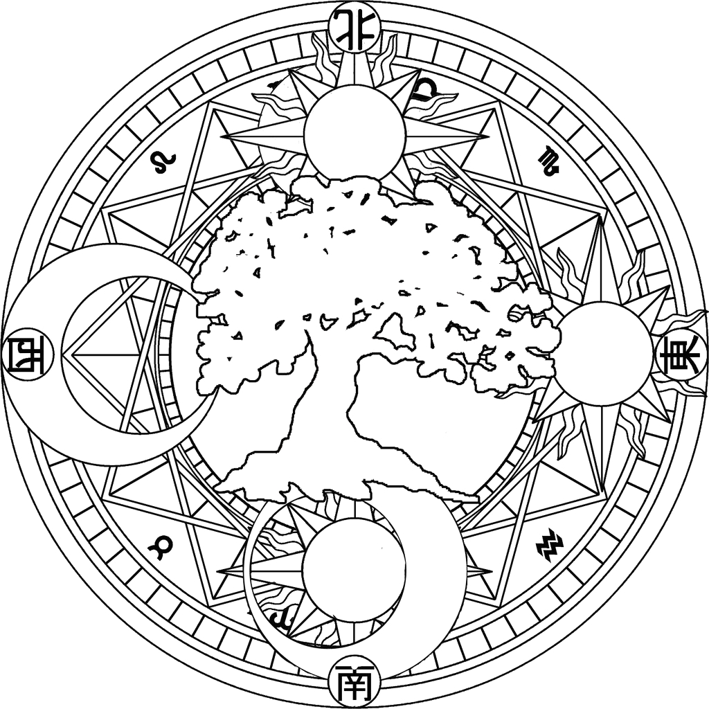 bohemian sun and moon coloring pages
