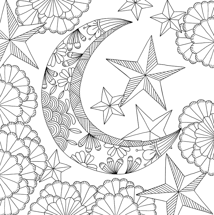 Bohemian Sun and Moon Coloring Pages for Adults Full Moon Coloring Pages at Getdrawings