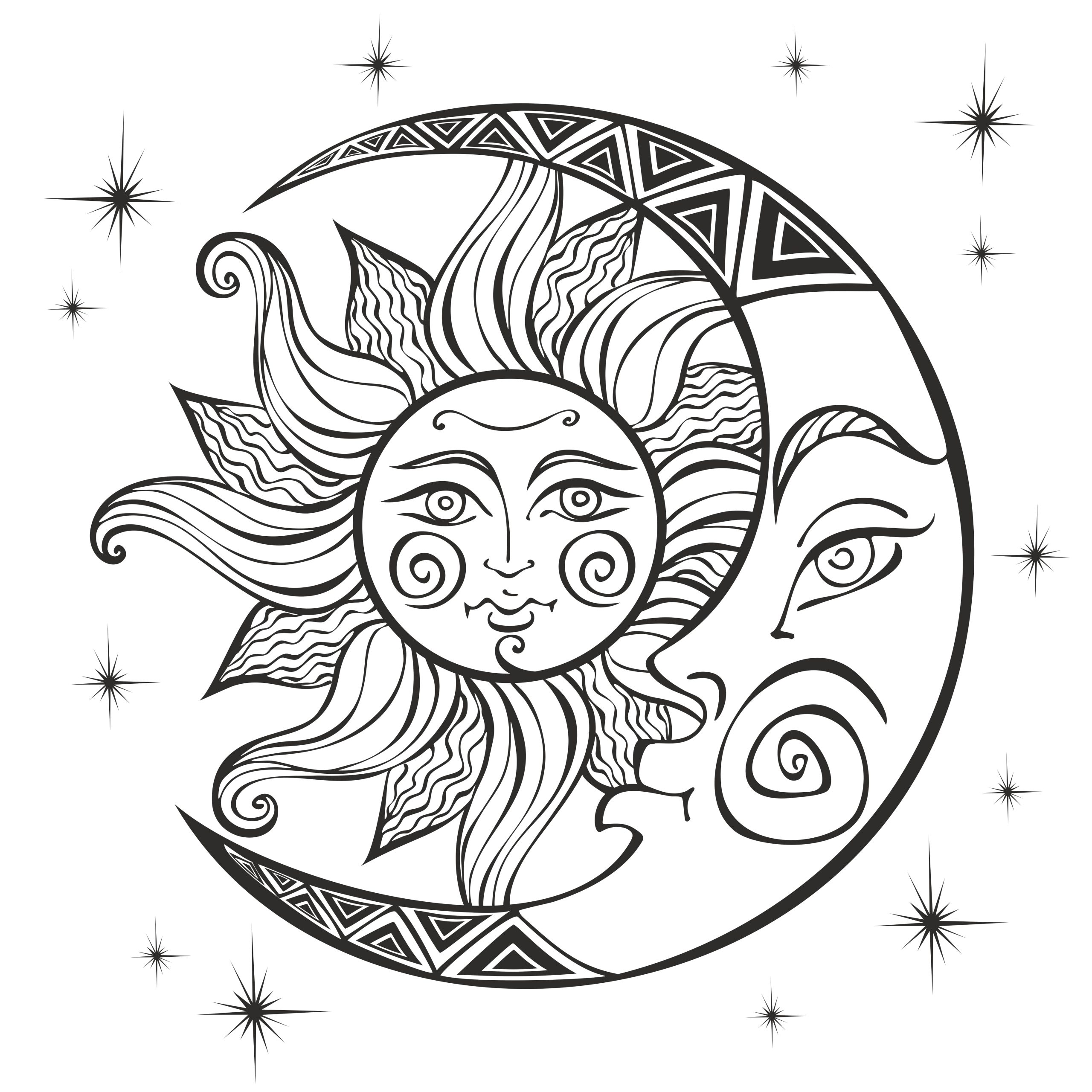 the moon and the sun ancient astrological symbol engraving boho style ethnic the symbol of the zodiac mystical coloring vector