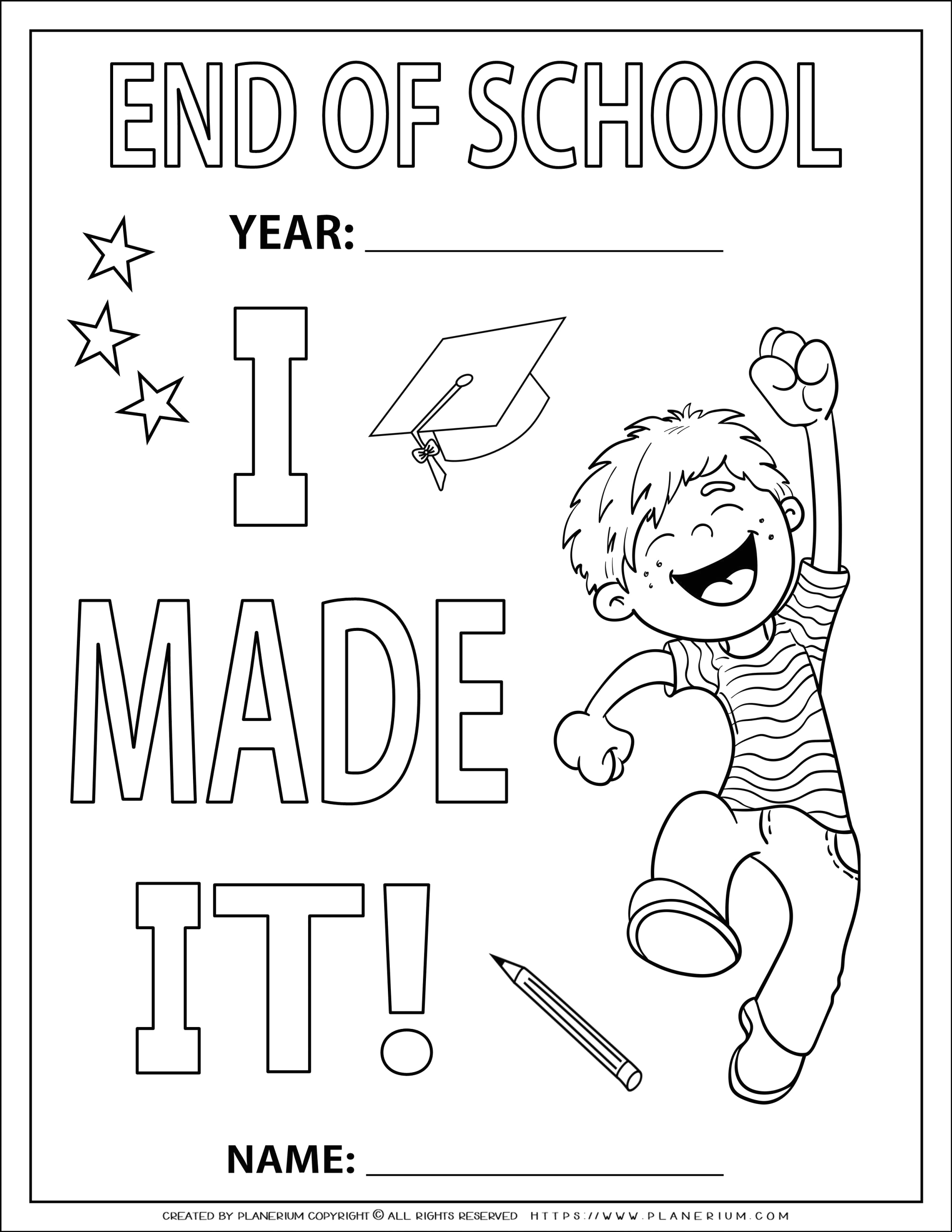 Coloring Pages for End Of School Year End Of Year Coloring Page I Made It for A Boy