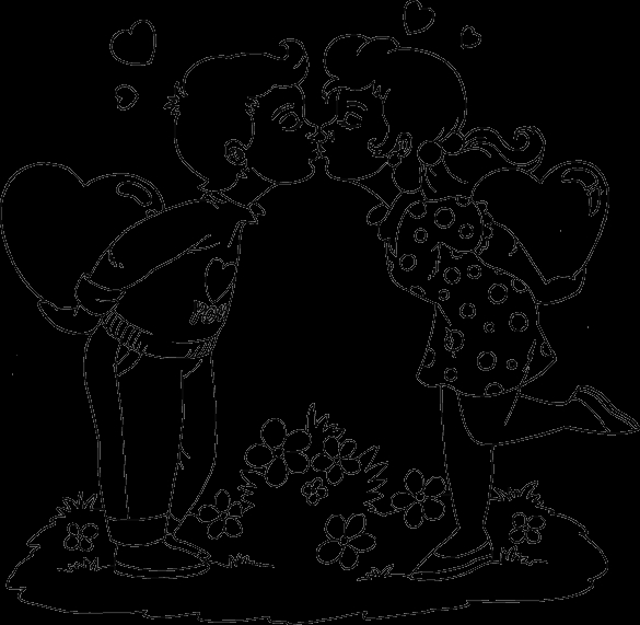 Coloring Pages Of Boy and Girl Kissing Valentine Boy and Girl Kissing Coloring Page Coloring