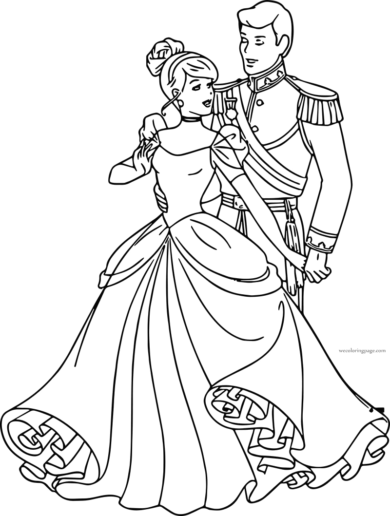 cinderella and prince charming going to her coloring pages