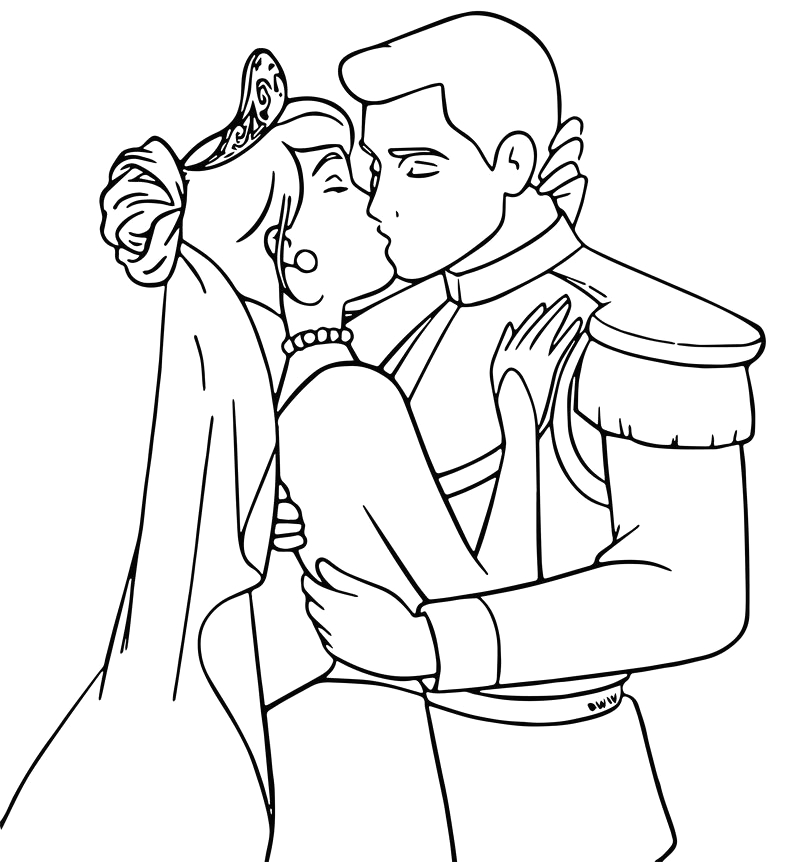 cinderella and prince charming kiss coloring pages
