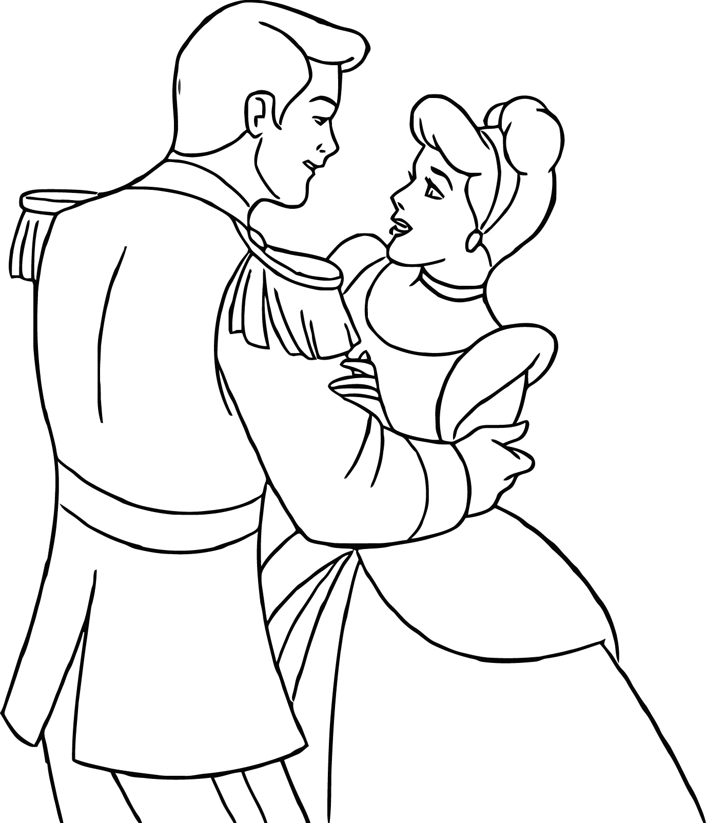 Coloring Pages Of Cinderella and Prince Charming Cinderella Prince Charming Coloring Pages at Getcolorings