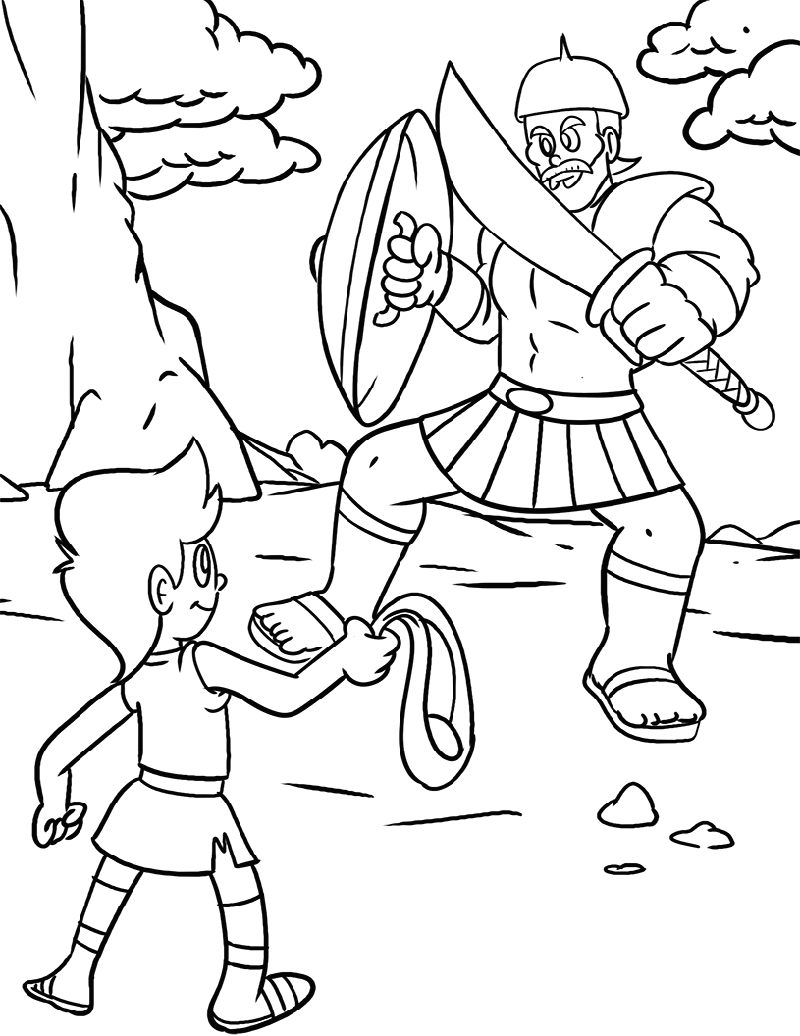 Coloring Pages Of David and Goliath for Kids David and Goliath Coloring Page