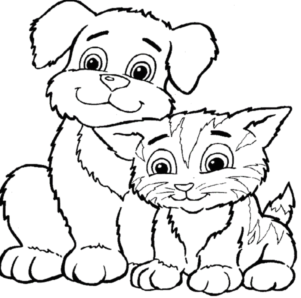 Coloring Pages Of Dogs and Cats Printable Cat and Dog Coloring Pages