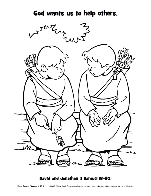 David and Jonathan Best Friends Coloring Page David Spares Saul Coloring Page Buscar Con Google