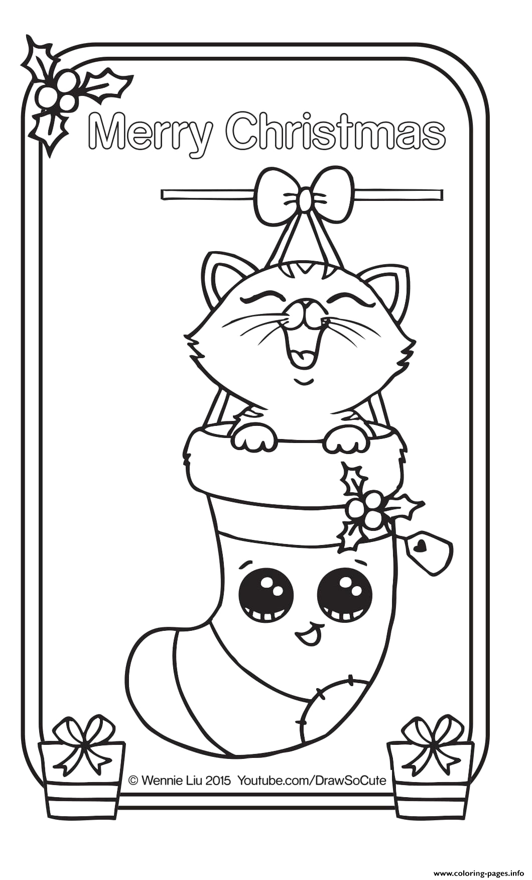 christmas card kitten draw so cute printable coloring pages book