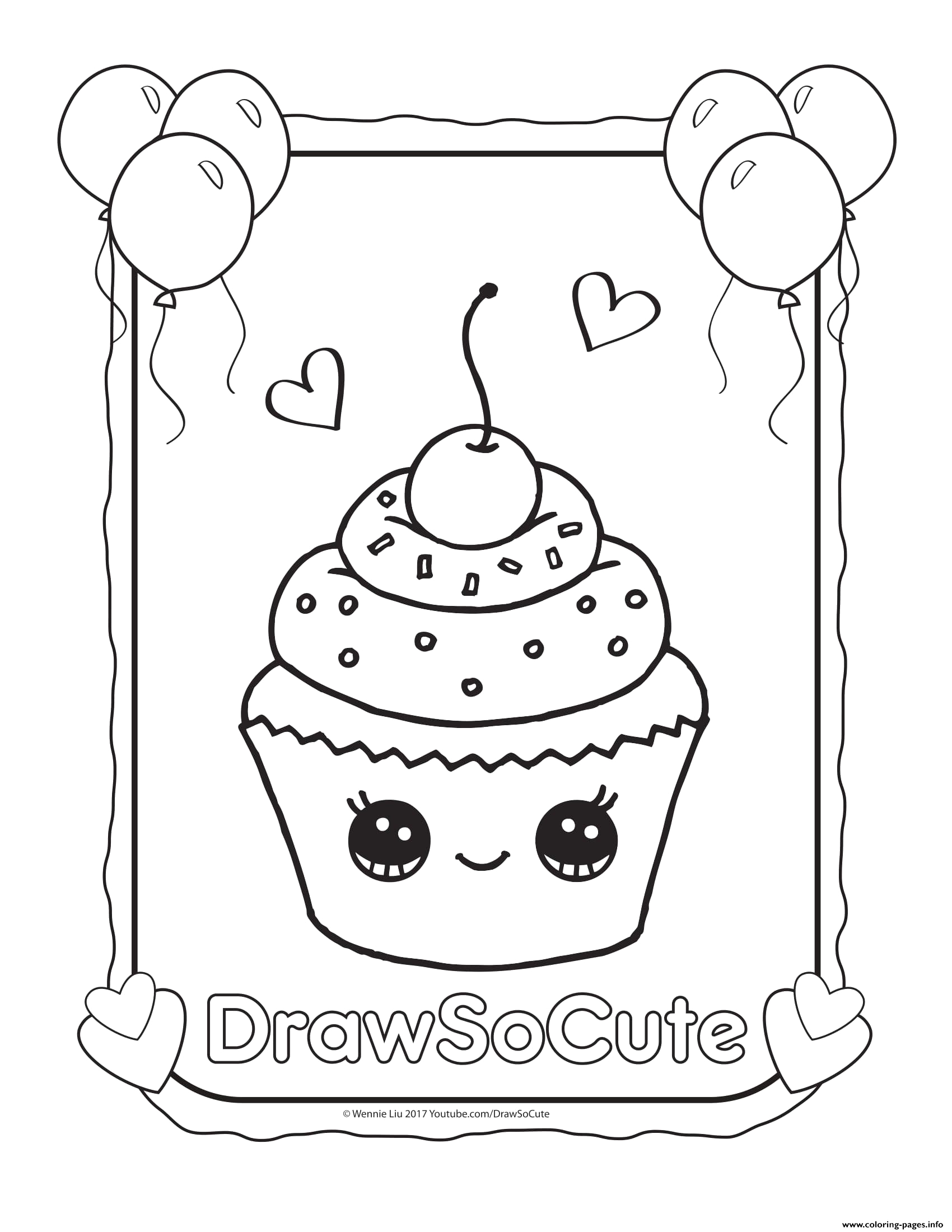 cupcake draw so cute printable coloring pages book