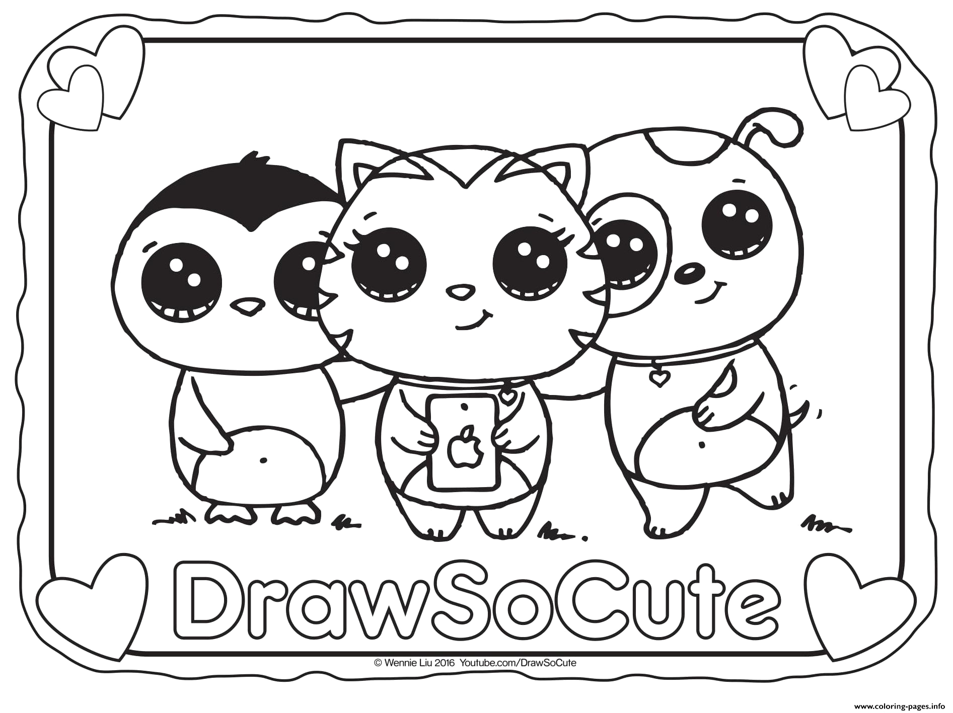 selfie draw so cute printable coloring pages book