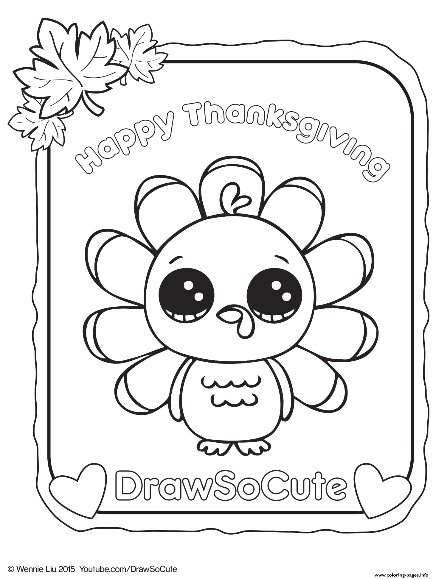 thanksgiving turkey draw so cute printable coloring pages book