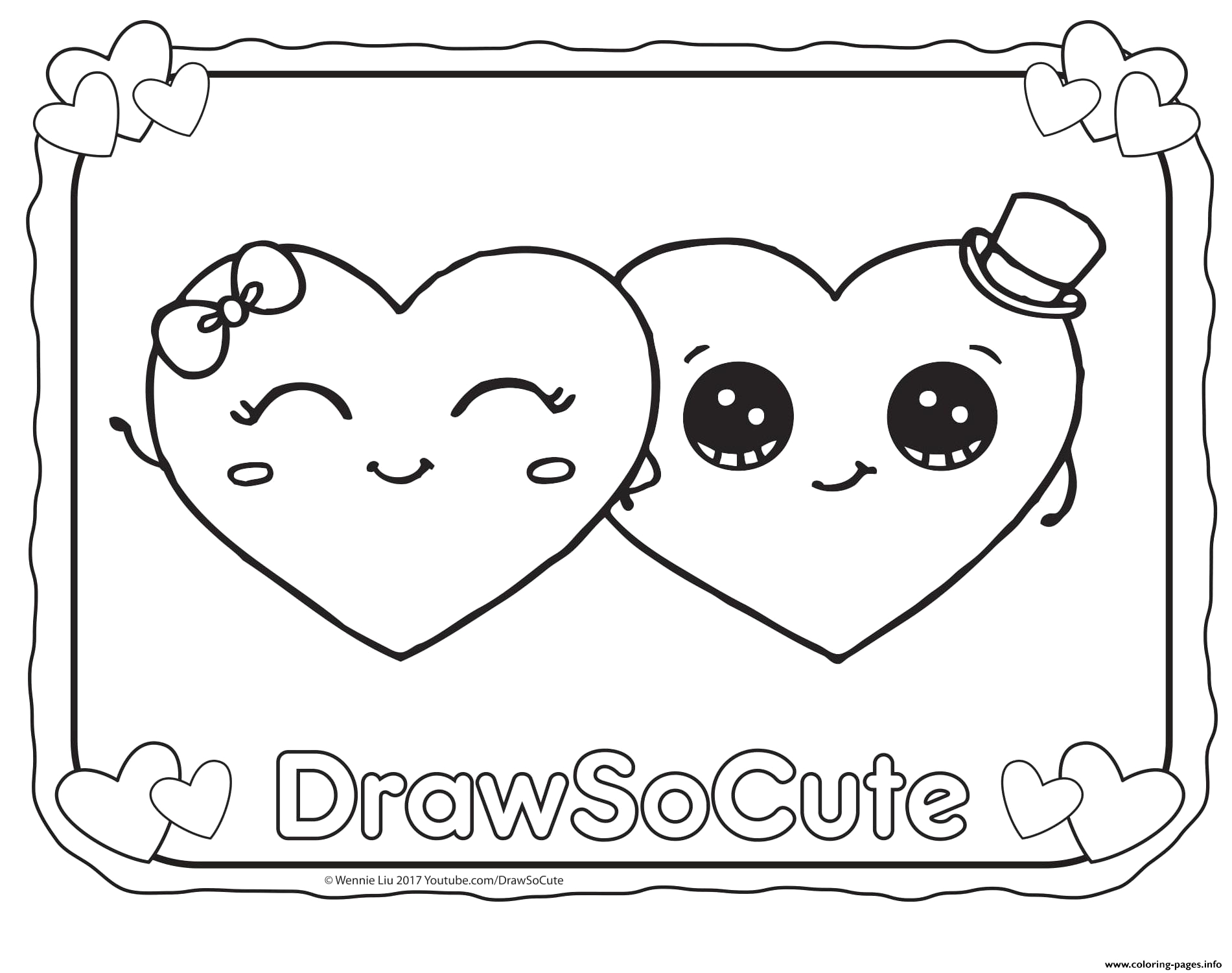valentine hearts draw so cute printable coloring pages book